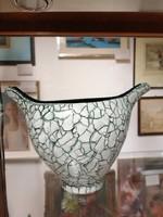Kerámia váza  Gorka jelzéssel.Repesztet technika. Zöld fehér.