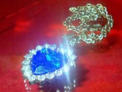 London kék Topáz kr. köves Tibeti Ezüst Nyaklánc