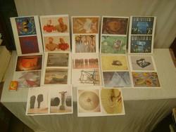 Íratlan képeslap - huszonnégy darab - festmények, szobrok,...