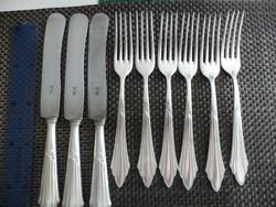 WMF legyezőmintás ezüstözött evőeszköz villa kés