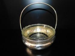 Ezüst  kínáló üvegbetéttel 340 g