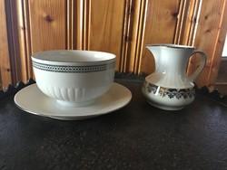 Bavaria Winterling porcelán szószos tál + tejszín kiöntő ezüst díszítéssel