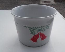 Zsolnay kaspó, karácsonyi mintával