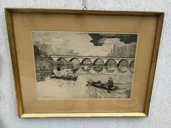 Hortobágy,  (kilenclyukuhíd) címü rézkarc. Horgászat a híd alatt