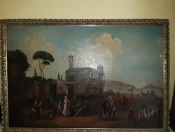 Antik kastély festmény olaj vászon