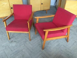 Retro régi fakarfás karfás mid century fotel szék