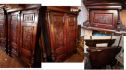 7db-os Antik Ónémet hálószoga garnitúra (fa régi, ágy, éjjeli szekrény, tükör)