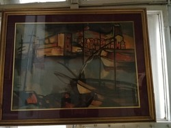 Tengeri kikötő. Festmény olaj vászon. Ismeretlen európai festő.