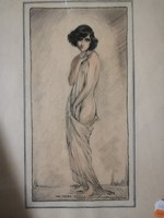Nöi akt. Art Deco 1900 évek. Rajz.Vegyes technika ceruza és pasztell.