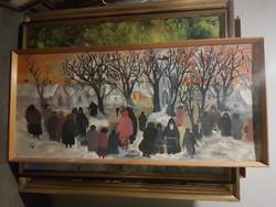 Dilinkó Gábor festménye, saját keretében, 52x113+keret, címe a hátoldalán