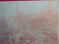 Budai Vár, réz karc kép, mérete 30 x 14 cm.