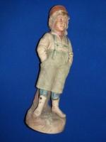 Antik olasz biszkvit Capodimonte Figura Halászfiú 24 cm a képek szerint