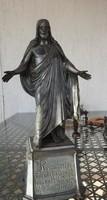 Hatalmas ezüstözött bronz Jézus szobor - templomi kegytárgy