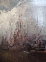 Hein Hoffmann ( 1901-1982) Kikötőrészlet.Olaj vászon.