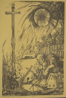 Révész Napsugár (1944): Kecskeméti pléhkrisztus - színes litográfia, 14/25