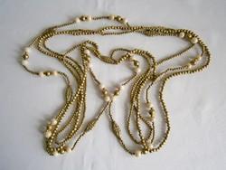 Nagyon ritka, különleges, antik, 3 soros extra hosszú nyaklánc, gyöngysor réz(?) gyöngyökkel
