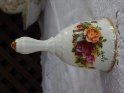 """ROYAL ALBERT """" Old Country Roses """" Angol porcelán rózsás asztali csengő , angyalhívó"""