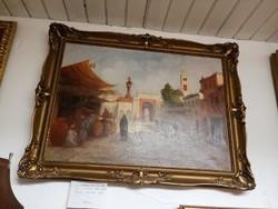 Mesterházy Dénes.( 1900-1949) festmény olaj vászon. Kelet város utca része.
