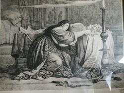 Karl Swoboda (1824-1870) II Johanna kasztíliai királynő. Rézkarc,üvegezett fa keretben, 24,5×33,5 cm