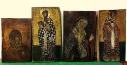 4 db ikon,fára festett,3 szentet és Madonnát a kisdeddel ábrázolják