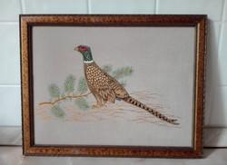Fácános, hímzett kép, 30 x 23,5 cm