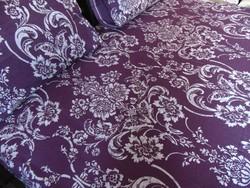Szépséges lila 100 % pamut ágynemű garnitúra
