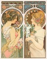 Szecessziós Mucha kép: Kankalin és toll, női alakok, különlegesség  Vintage/antik plakát reprint