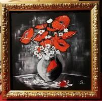 Czinóber - Red and White ( 25.5 x 26, olaj, gyönyörű fa alapú keretben )