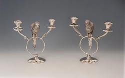 Ezüst papagájos gyertyatartó párban