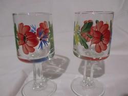6 db pipacsos-búzavirágos talpas likőrös üveg pohár