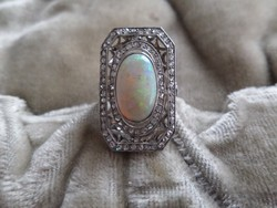 Hatalmas art deco platina - fehér arany gyűrű opállal és gyémántokkal
