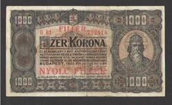 """1000 korona 1923.  8 fillér felülbélyegzés!!  """"F+""""!!  SZÉP!!"""