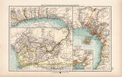 Nyugat - Afrika térkép 1904, eredeti, Moritz Perles, német, atlasz, régi, kolónia, gyarmat