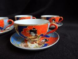 Régi japán tojáshéj porcelán kávés szett relief aranyozással