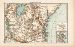 Német Kelet - Afrika térkép 1904, eredeti, Moritz Perles, német, atlasz, régi, Ukonongo, Usagara
