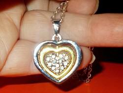 Szív a szívbe mest. Gyémánt Arany - ezüst Kéttónusú Tibeti ezüst Nyaklánc