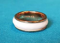 FOSSIL aranyozott acél, fehér körberakásos női gyűrű, 53-as méret, nagyon szép állapotban!