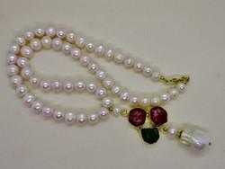 Csodálatos ezüst  kézműves valódi gyöngy rubin és smaragd rög medállal