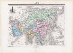 Ázsia térkép 1877, francia, atlasz, eredeti, 35 x 48 cm, XIX: század, régi, nagy méret, Kína, India