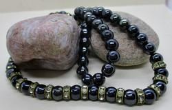 Szépséges antik ónix nyaklánc apró kövekkel