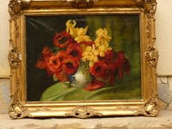 Eladó Mészáros Jenő: Virágcsendélet című olajvászon festménye