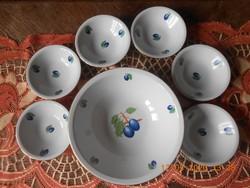 Alföldi porcelán kompótos készlet, szilva mintás