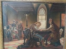 Zrínyi és Frangepán,! Madarász Viktor festménye után valószínű! 1800as évekből. Szépen festett kép!