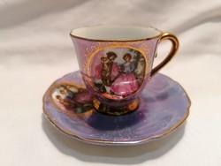 Romantikus jelenetes porcelán csésze és alj (2)