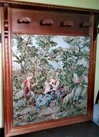 Gobelin betétes fali fogas , előszoba fal, 110x130 cm, akasztó