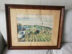 Badacsony tájkép, Balaton aqvarelje! Vízfestmény balaton hegyoldal nagyon jó kis vízfestmény fakeret