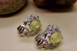 Csodálatos valódi opálokkal kézműves ezüst fülbevaló