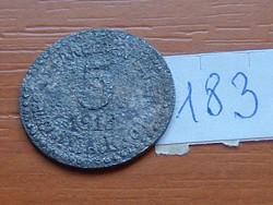NÉMET 5 PFENNIG 1916 NOTGELD WWI KRIEGSGELD CINK AZONOSÍTANDÓ 183.