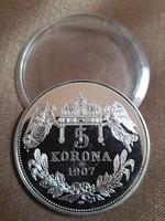 Hibátlan ezüstözött 5 korona 1907 Magyarok Krónikája PP kapszulában Kossuth Lajos