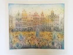Gross Arnold színes rézkarca: Brüsszeli vasárnap, hibátlan, kiállítási minőségű